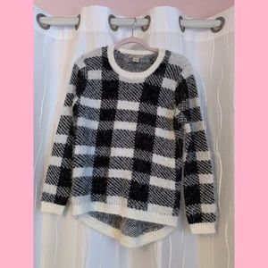 black and white plaid sweater